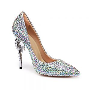 Charming Multi-Colors Rhinestone Wedding Shoes 2020 Leather 11 cm Stiletto Heels Pointed Toe Wedding Pumps