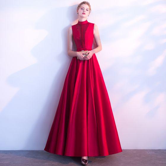 Piękne Burgund Sukienki Wieczorowe 2018 Princessa Frezowanie Kokarda Wysokiej Szyi Bez Rękawów Długie Sukienki Wizytowe
