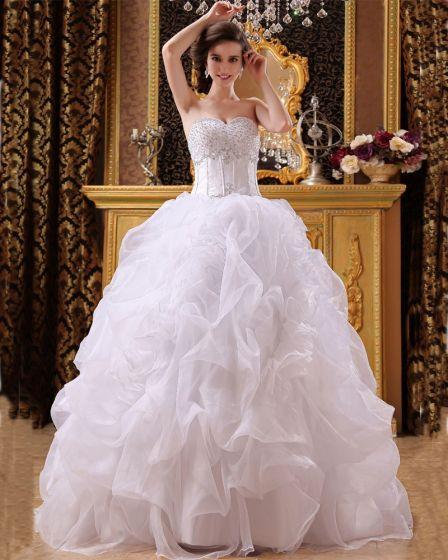 Sateng Organza Beading Kjaereste Gulv Lengde Ball Kjole Brudekjoler Bryllupskjoler