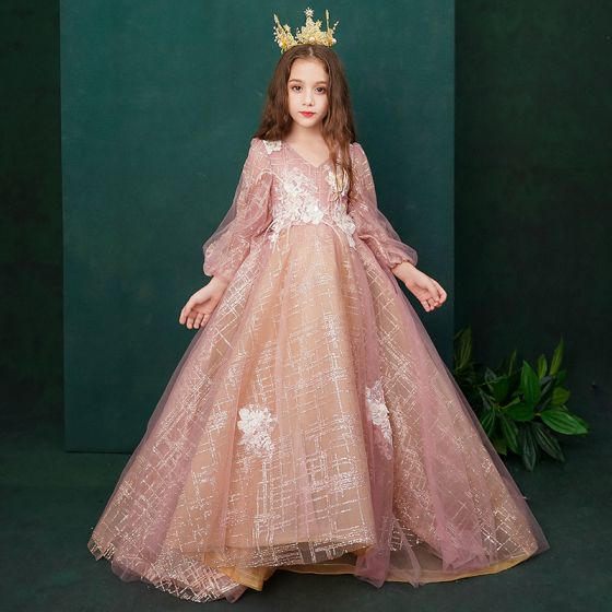 Victorian Style Pearl Pink Birthday Flower Girl Dresses 2020 Princess V-Neck Puffy Long Sleeve Backless Appliques Lace Beading Glitter Tulle Feather Sweep Train Ruffle