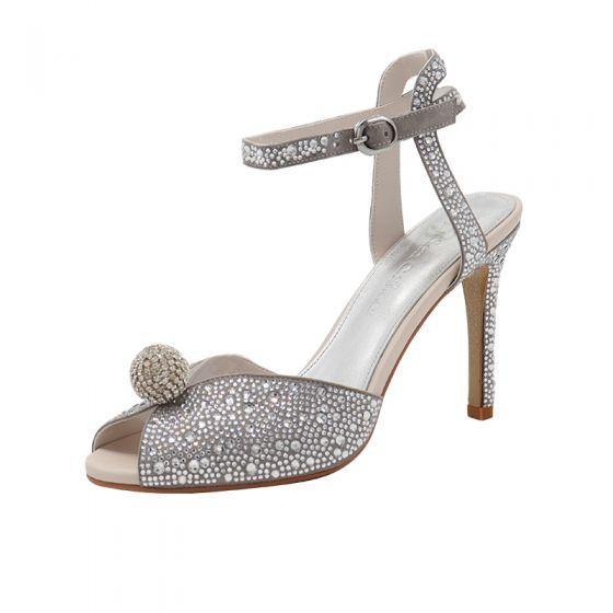 Glitter Zilveren Rhinestone Bruidsschoenen 2020 Enkelband 9 cm Naaldhakken / Stiletto Peep Toe Huwelijk Sandalen