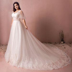 Luxus / Herrlich Weiß Brautkleider 2017 A Linie V-Ausschnitt Tülle Mit Spitze Pailletten Perlenstickerei Applikationen Rückenfreies Hochzeit