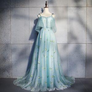 Élégant Bleu Robe De Soirée 2018 Princesse Appliques Noeud Bretelles Spaghetti Dos Nu Sans Manches Train De Balayage Robe De Ceremonie