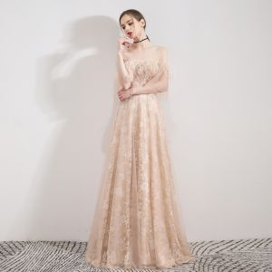 Elegant Champagne Evening Dresses  2019 A-Line / Princess Off-The-Shoulder Bell sleeves Feather Beading Pearl Sweep Train Ruffle Backless Formal Dresses