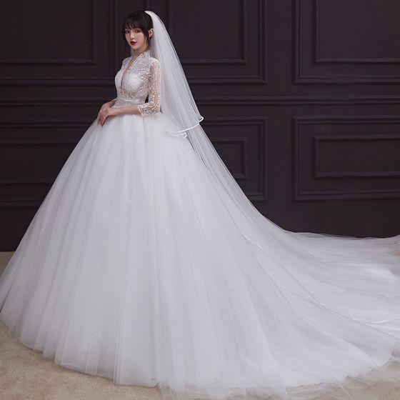 Vintage / Retro White Bridal Wedding Dresses 2020 Empire See-through Deep V-Neck 3/4 Sleeve Appliques Lace Beading Ruffle Court Train
