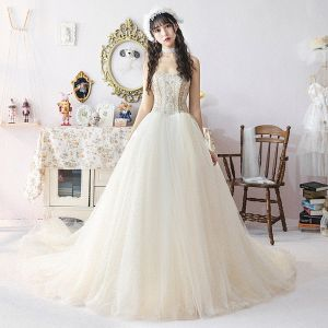Modern / Fashion Champagne Wedding Dresses 2019 Ball Gown Sweetheart Detachable Puffy Short Sleeve Backless Pearl Beading Cathedral Train Ruffle