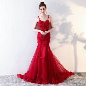 Modern / Fashion Red Evening Dresses  2017 Trumpet / Mermaid Chapel Train Cascading Ruffles Spaghetti Straps Sleeveless Backless Lace Appliques Flower Beading Formal Dresses