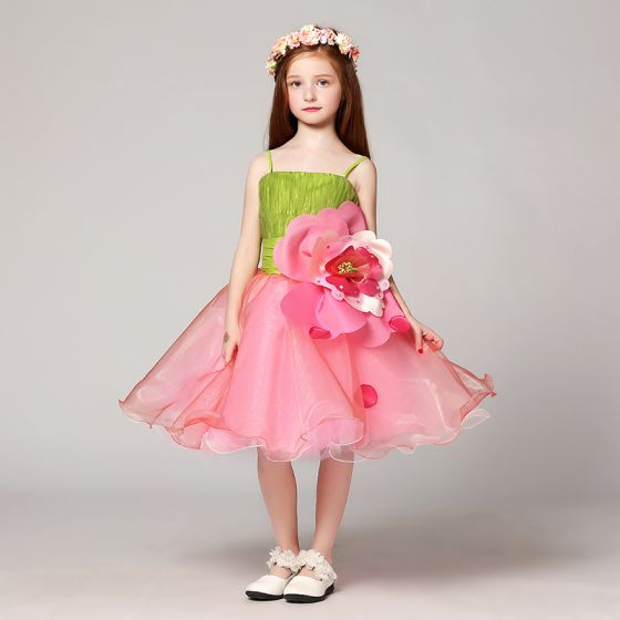 Flower Fairy Artificial Flowers Clover Green Candy Pink Flower Girl Dresses 2017 Ball Gown Spaghetti Straps Strapless Sleeveless Sequins Rhinestone Knee-Length Ruffle Backless Wedding Party Dresses