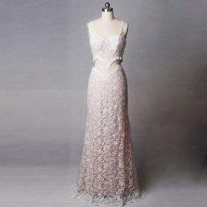 2 Stück Unique Rosa Hof-Schleppe Hochzeit 2018 V-Ausschnitt Spitze Schnüren Rückenfreies Perlenstickerei Perle Etui Brautkleider