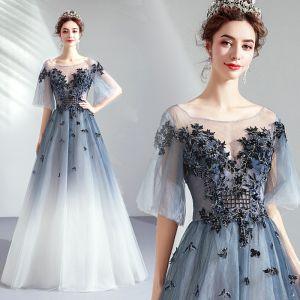 Elegant Gradient-Color Evening Dresses  2019 A-Line / Princess Scoop Neck Beading Pearl Lace Flower 1/2 Sleeves Backless Floor-Length / Long Formal Dresses