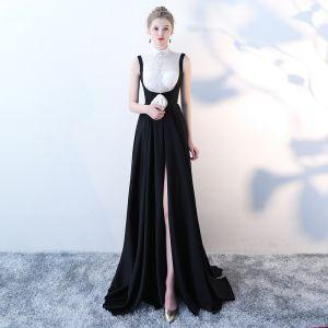 Elegant Black White Evening Dresses  2018 Empire High Neck Sleeveless Sequins Court Train Backless Formal Dresses