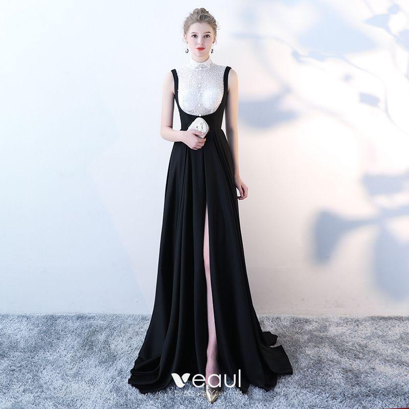 Elegant Black White Evening Dresses 2018 Empire High Neck Sleeveless Sequins Court Train Backless Formal