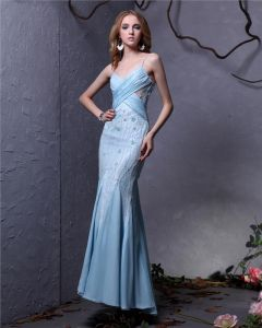 Elegant Chiffon Beaded Pleated Spaghetti Strap Ankle Length Women Prom Dress