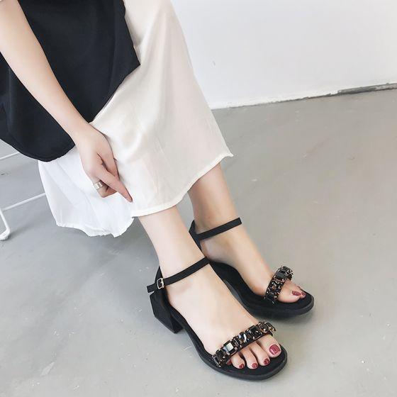 710f788d748f0 Proste / Simple Czarne Przypadkowy Sandały Damskie 2018 Zamszowe Rhinestone  4 cm Grubym Obcasie Peep Toe Sandały