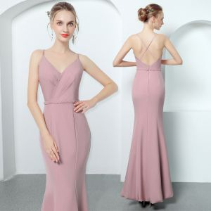 Sexy Candy Pink Evening Dresses  2018 Trumpet / Mermaid Spaghetti Straps Sleeveless Beading Sash Ankle Length Ruffle Backless Formal Dresses