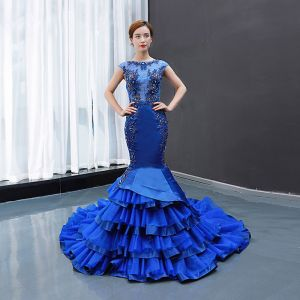 Luxury / Gorgeous Royal Blue See-through Evening Dresses  2020 Trumpet / Mermaid Square Neckline Sleeveless Appliques Lace Beading Court Train Ruffle Backless Formal Dresses