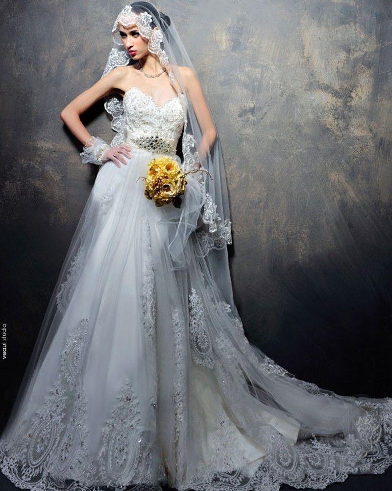 Satin Tulle Lacework Beading Sweetheart Floor Length Court Train A-Line Wedding Dress