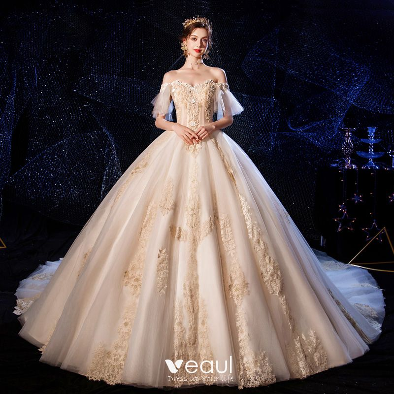 Luxury Gorgeous Champagne Wedding Dresses 2020 Ball Gown Off The Shoulder Bell Sleeves Backless Appliques Lace Beading Cathedral Train Ruffle,Tulle And Lace Wedding Dresses