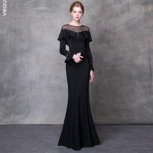 Elegant Sorte Selskabskjoler 2018 Havfrue Krystal Rhinestone Bælte Scoop Neck Langærmet Feje tog Kjoler