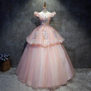 Hermoso Quinceañera Perla Rosada Vestidos de gala 2020 Ball Gown Fuera Del Hombro Manga Corta Sin Espalda Apliques Con Encaje Lentejuelas Rebordear Largos Ruffle Vestidos Formales