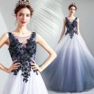 Elegant Gradient-Color Evening Dresses  2019 A-Line / Princess Scoop Neck Beading Sequins Pearl Crystal Lace Flower Sleeveless Backless Floor-Length / Long Formal Dresses