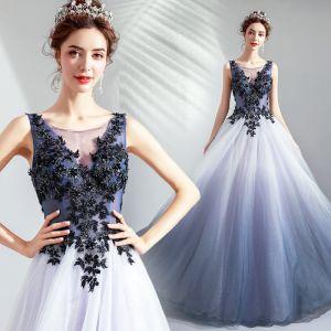 Elegant Gradient-Color Evening Dresses  2019 A-Line / Princess Scoop Neck Beading Sequins Pearl Crystal Lace Flower Sleeveless Backless Floor-Length / Long Formal Dresses