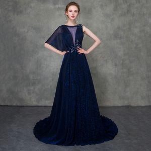 Mode Kongeblå Selskabskjoler Aftagelig Med Sjal 2018 Prinsesse Gennemsigtig Scoop Neck Ærmeløs Beading Retten Tog Flæse Kjoler
