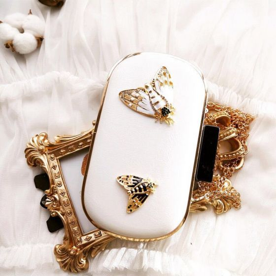 Chic / Beautiful 2017 White Leaf Rhinestone PU Beach Church Outdoor / Garden Clutch Bags