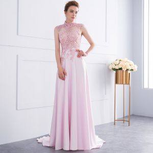 Classy Candy Pink Handmade  See-through Evening Dresses  2018 A-Line / Princess Beading Sequins Lace Crystal High Neck Backless Sleeveless Court Train Formal Dresses