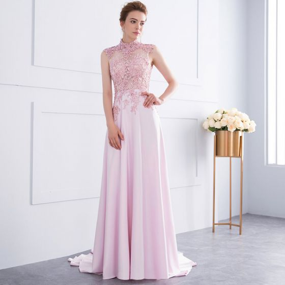 Classy Candy Pink Handmade See-through Evening Dresses 2018 A-Line ...