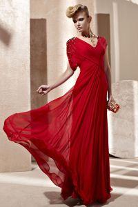 V-ausschnitt Rüschen Kurzarm Boden Länge Verbundfilament Frau Abendkleid