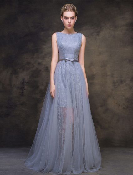 2016 Sparkly Square Beading Neckline Grey Glitter Tulle Evening Dress With Sash