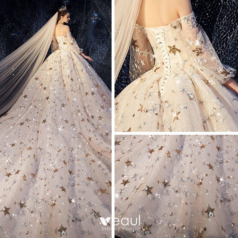 Luxury / Gorgeous Ivory Wedding Dresses 2019 A-Line