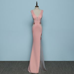 Chic / Beautiful Pearl Pink Evening Dresses  2019 Trumpet / Mermaid V-Neck Rhinestone Sleeveless Backless Floor-Length / Long Formal Dresses