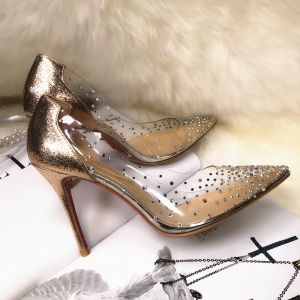 Charming Gold Evening Party Pumps 2019 Rhinestone Sequins 10 cm Stiletto Heels Pointed Toe Pumps