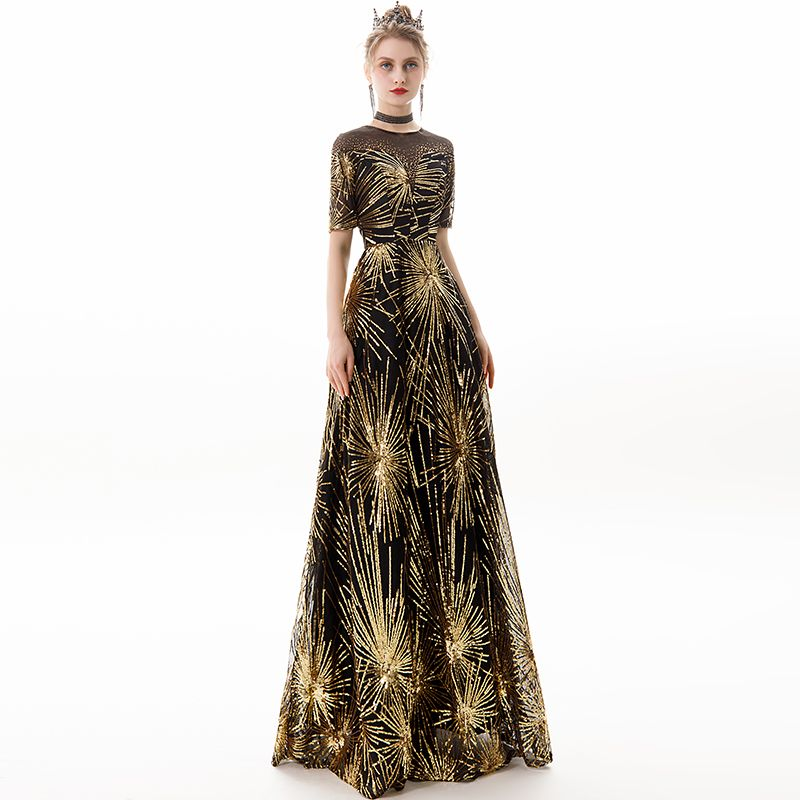 Chic / Beautiful Black Gold Evening Dresses  2019 A-Line / Princess Scoop Neck Sequins Rhinestone Short Sleeve Floor-Length / Long Formal Dresses