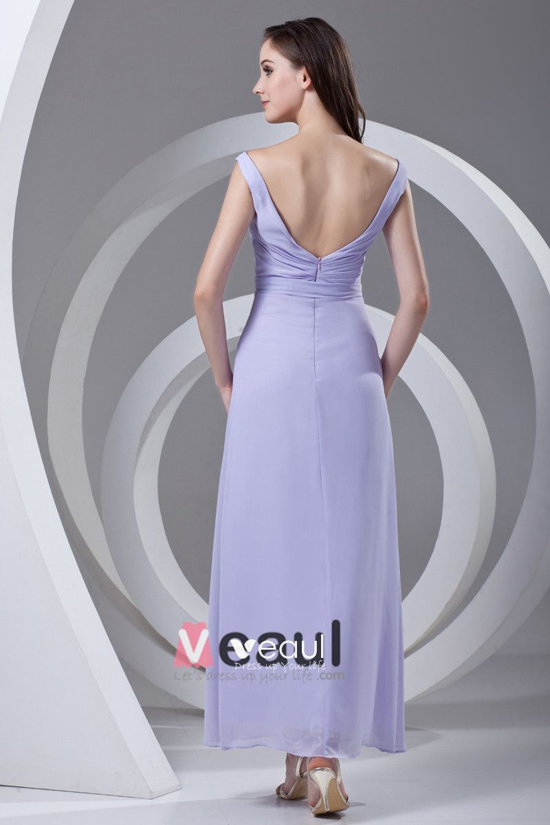 V Neck Pleated Bowknot Ankle Length Chiffon Woman Bridesmaid Dress