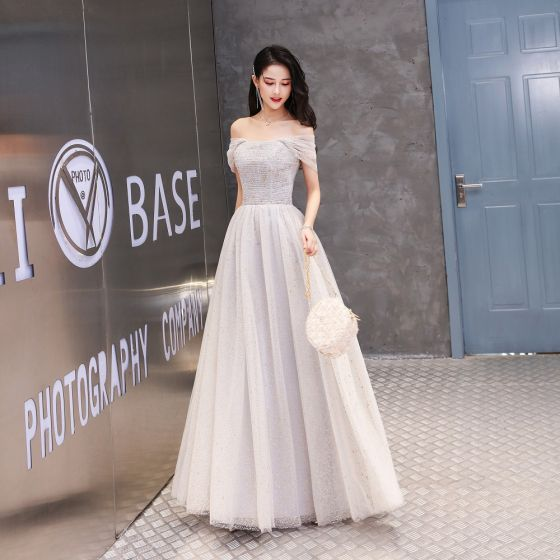 Chic / Beautiful Grape Prom Dresses 2020 A-Line / Princess Off-The-Shoulder Glitter Beading Pearl Short Sleeve Backless Floor-Length / Long Formal Dresses