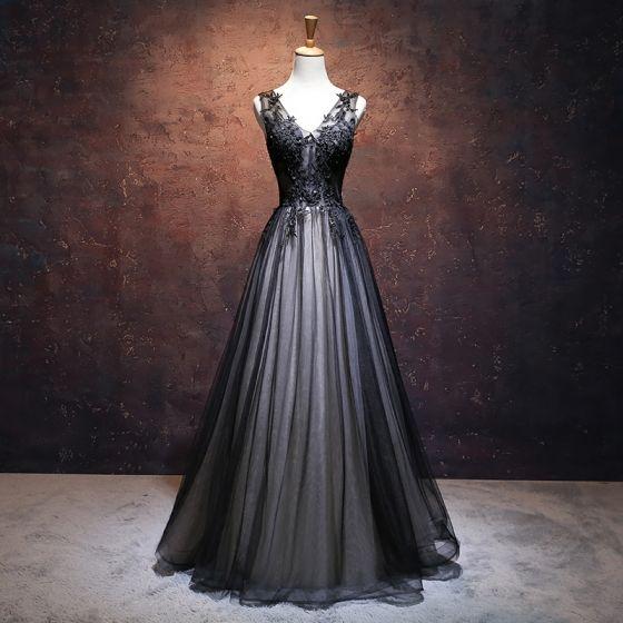 Chic / Beautiful Black Prom Dresses 2017 A-Line / Princess V-Neck Sleeveless Appliques Lace Flower Rhinestone Floor-Length / Long Ruffle Pierced Backless Formal Dresses