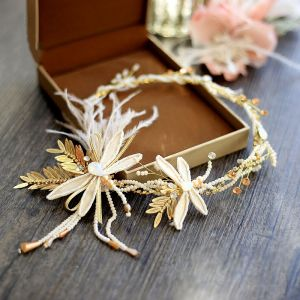 Bridal Jewelry Amazing / Unique 2017 Gold Feather Pearl Tiara