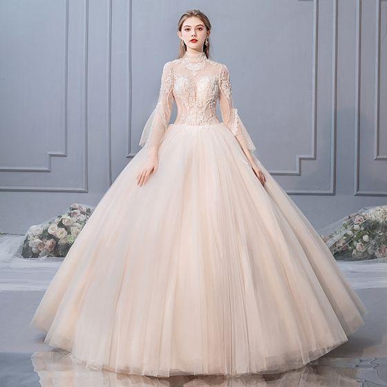 Elegantes Champán Vestidos De Novia 2019 Ball Gown Cuello Alto Rebordear  Lentejuelas Con Encaje Flor Manga Larga ... 6ffb51e5a36b
