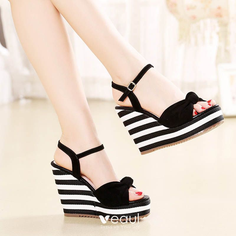 Modern / Fashion Outdoor / Garden Womens Sandals 2017 PU Bow Wedges High Heel Open / Peep Toe Sandals
