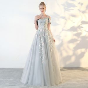 Chic / Beautiful Sage Green Prom Dresses 2018 A-Line / Princess Lace Flower Off-The-Shoulder Backless Short Sleeve Floor-Length / Long Formal Dresses
