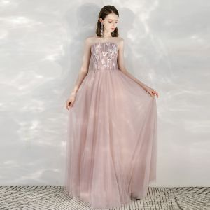 Elegant Blushing Pink Evening Dresses  2020 A-Line / Princess Strapless Sleeveless Butterfly Appliques Lace Glitter Tulle Floor-Length / Long Formal Dresses