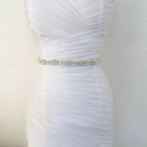Luxury / Gorgeous White Wedding Sash 2020 Tulle Metal Beading Pearl Rhinestone Bridal Prom Accessories