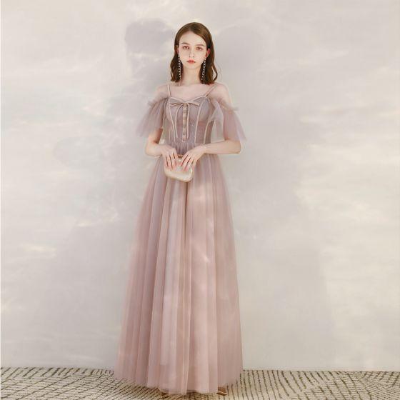 Piękne Rumieniąc Różowy Sukienki Wieczorowe 2020 Princessa Spaghetti Pasy Kótkie Rękawy Długie Wzburzyć Bez Pleców Sukienki Wizytowe