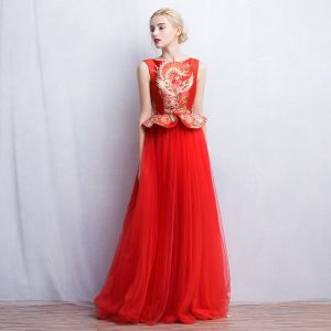 Chinese style Red Evening Dresses  2017 A-Line / Princess Square Neckline Sleeveless Printing Floor-Length / Long Ruffle Formal Dresses
