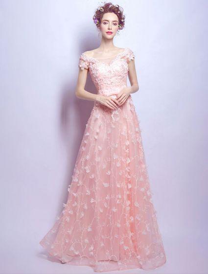f28bbd5d2 Encantador Vestido De Noche Largo Con Encaje Tul Rosa Fuera Del Vestido De  Hombro
