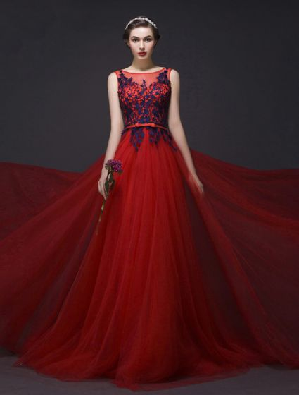 Elegant Prom Dresses 2016 A-line Sleeveless Applique Royal Blue Lace Red Tulle Long Dress