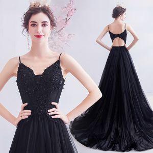 Hermoso Negro Vestidos de gala 2020 A-Line / Princess Spaghetti Straps Rebordear Con Encaje Flor Sin Mangas Sin Espalda Colas De Barrido Vestidos Formales